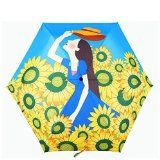 sun flower&beautiful girl parasol sun rain umbrella