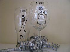 Wedding Painted Wine Glasses Bridal  Toasting