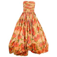 Preowned Oscar De La Renta Red Green Yellow Silk Floral Print Full... ($2,100) ❤ liked on Polyvore featuring dresses, gowns, evening gowns, yellow, floral gown, red strapless gown, floral print dress, green evening gown and red evening dresses