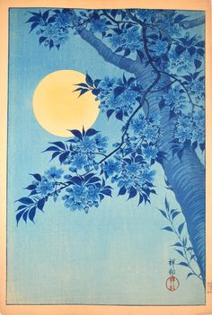 Shoson is largely responsible for the resurgence of interest in aizuri-e, the technique of printing in all-blue ink. This technique was first used in the 1840s, reaching a peak of popularity the 19th century. In this print, Shoson depicts a blossoming tree under the brilliant light of a full moon, ingeniously employing the atmospheric quality of aizuri-e to capture the impression and sensibility of a particular kind of moonlit night.