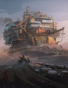 Machine by Hamish Frater Sci Fi Fantasy, Fantasy World, Zombie Survival Vehicle, Post Apocalyptic City, Piskel Art, Steampunk, Futuristic Cars, Science Fiction Art, Environment Concept Art