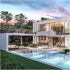 25 most popular modern dream house exterior design ideas 18 – InspireandIdeas Millionaire Homes, Dubai Houses, Miami Houses, Modern Villa Design, Dream Mansion, Luxury Homes Dream Houses, Dream Homes, Modern Mansion, Big Modern Houses