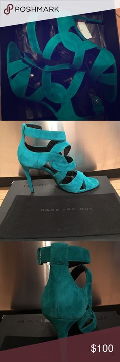 "Amazing turquoise color suede Barbara bui heels! Turquoise suede strappy 4"" heels purchased from intermix NYC Barbara Bui Shoes Heels"