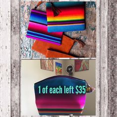 Large sized SERAPE COSMETIC BAGS... handmade & make a great gift🎁🛍🌈 $35 each in 2 styles Search serape cosmetic online