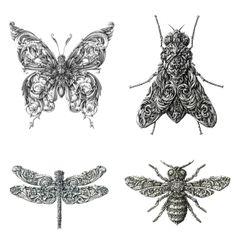 """Increíble la habilidad para la ilustración que Alex Konahi demuestra en su serie """"Little Wings"""" realizada con rotrings y tinta china (como es habitual en él). En este proyecto plasma cuatro insectos a base de ornamentos con una técnica magistral."""