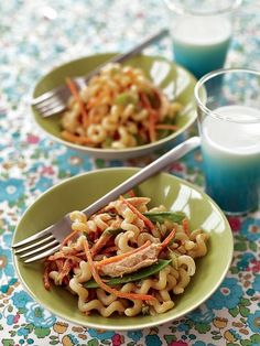 Peanut Noodles: 8 oz long fusilli,1 c snow peas,1 c shredded cooked chick, 1/2 c shredded carrots, 1 T sesame seeds,1 scallion. Dressing: 1/4 c creamy peanut butter, 2 tsp brown sugar, 2 T low-sodium soy sauce, 1 tsp sesame oil, 1 tsp rice or apple-cider vinegar.  Cook pasta, adding snow peas to the water 1 minute b/4 pasta done. Drain & rinse w/cool water.  Mix pbutter, brown sugar, soy sauce, sesame oil, & vinegar in bowl. Add pasta, snow peas, chick & carrots. Top w/sesame seeds…