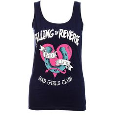 Falling In Reverse Bad Girls Vest (Blue) ($21) ❤ liked on Polyvore featuring shirts, tops, tank tops and falling in reverse