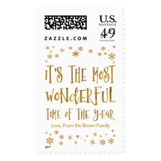 It's the Most Wonderful Time of the Year Editable Postage - faux gifts style sample design cyo