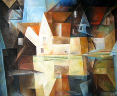 Lyonel Feininger - Dorfteich von Gelmeroda (1922), on display at the Frankfurt Stadel Museum.