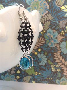 Black Scroll and Aqua Crystal Drop Dangle Earrings on Etsy, $12.00