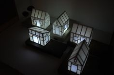 Miniature paper house light with gold tree  birch wood by 2of2