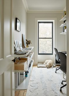 Shapeless Studio architect Jess Thomas's gut renovation of her Bed Stuy Brooklyn townhouse features restored original details and a warm minimalist touch. Home Office Furniture, Home Office Decor, Home Decor, Brooklyn, Ikea Algot, Studio, Ikea Storage, Scandinavian Home, Minimalist Decor