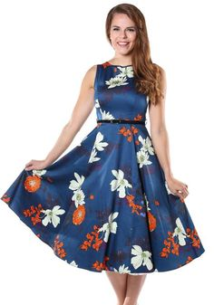 Japanese Floral On Blue Hepburn, Kellomekko - Lady Vintage
