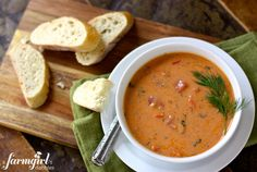 Soup meals are quick, easy, and fulfilling such as this creamy tomato bisque recipe. The best part about this meal is that it serves ten people and is enough to store in the freezer whenever you are ready to eat it again. Tomato Bisque Recipe, Tomato Bisque Soup, Fall Soup Recipes, Chicken Enchilada Soup, Soup And Sandwich, Sandwich Recipes, Lunch Recipes, Sweet Recipes, Yummy Recipes