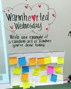 LOVE this adorable idea- Warmhearted Wednesday! A great way to promote kindness in the classroom or in the teacher lounge! Classroom Whiteboard, Classroom Organization, Classroom Management, Classroom Ideas, Morning Activities, Daily Activities, Morning Board, Bell Work, Character Education