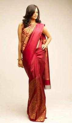 A unique red silk pattu saree from palam silks