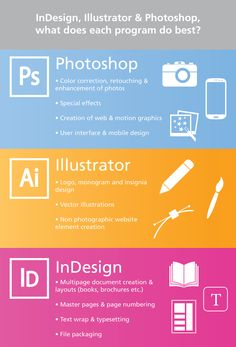 Basic what do what in Adobe. See also Adobe.tv for full presentation on each program.