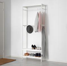 Ikea Mackapar Coat Rack with Shoe Storage Unit, has hanging bar for coats, lots of hooks, shelves for shoes, powder-coated steel, 2017