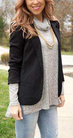 Heather Grey Cowl Neck Side Slit Knit Turtleneck