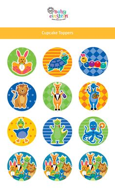 Adorable Baby Einstein cupcake toppers. Get printables now!