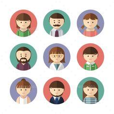 flat female avatars illustration click for full graphic detail