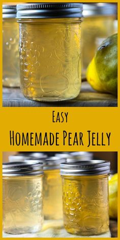 Pear Jelly is easy to make and so delicious. Spread it on toast, a peanut butter sandwich, muffins, pancakes and waffles. Or use it as a glaze for roasted chicken, vegetables or meats Pear Jelly Recipes Easy, Pear Recipes, Blender Recipes, How To Make Jelly, Making Jelly, Pear Preserves, Canning Pears, Sans Gluten Sans Lactose, Homemade Jelly