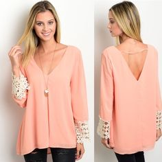 Bohemian Bell Sleeves Blouse Bohemian top features bell sleeves with crochet trim and a v-neckline.  Sizes: S M L.  leave comment with your size to purchase Tops Blouses