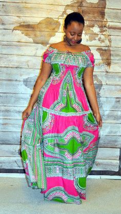Afro Bohemian Gypsy style Maxi dress van HouseofAfrika op Etsy