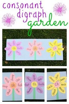 Teach your child to recognize and read consonant digraphs /th/, /sh/, and /ch/ with a digraph garden! garden abc Consonant Digraph Garden - I Can Teach My Child! Phonics Reading, Teaching Phonics, Kindergarten Literacy, Early Literacy, Student Teaching, Literacy Activities, Teaching Reading, Phonics Lessons, Phonics Games