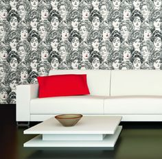 Victorian style wallpaper with Gibson girls. Width: 20.5 in  Repeat: 20.5 in.  Length: 15 ft (SINGLE ROLL)  pre-pasted, washable, strippable  Victorian wallpaper has white background with Gibson girls in black, some with red lips. $34.99 per single roll.
