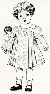 free printable digital image designer resource ~ vintage girl with doll from June 1908 Delineator magazine