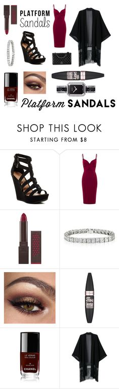 """""""I am strong because I wear platform shoes!"""" by marzy2shine on Polyvore featuring moda, Chinese Laundry, Burt's Bees, Chanel, Maybelline, outfit, platforms e RougeNoir"""