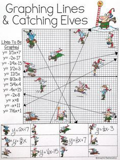 Graphing Slope Intercept Form Lines - Christmas Algebra Activity Graphing Worksheets, Algebra Activities, Math Resources, Teaching Math, Math Teacher, Math 8, Teacher Stuff, Christmas Math, 7th Grade Math