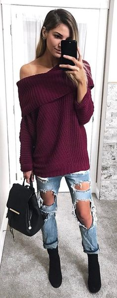 cute outfit idea top + bag + ripped jeans