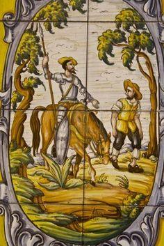 Quijote, azulejos, baldosas, cerámica de Talavera   Spain