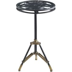 Pier 1 Imports Movie Reel Accent Table ($80) ❤ liked on Polyvore featuring home, furniture, tables, accent tables, three legged table, 3 legged table, tripod table, pier 1 imports and antique looking furniture