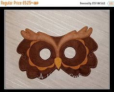ONE - Woodland Brown Owl Felt Mask  If you would like this mask in a different colour then i can do that for you just send me a note Fun for kids from 3+. All masks come with a 11 elastic attached. Masks fit most toddlers and children.  -Measures approximately 7 x 5 inches. -Made with two layers of eco felt, machine stitched and cut by hand. -Childrens Comes with 11 elastic attached.  -Adults masks I will stitch in elastic measuring 16  Please note my current turn around time before…