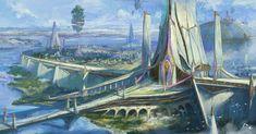 Fantasy City, Fantasy Places, High Fantasy, Fantasy World, Landscape Concept, Fantasy Landscape, Fantasy Concept Art, Fantasy Artwork, Futuristic City