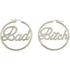 Bad Bitch Hoops (BB x Me You) ($295) ❤ liked on Polyvore featuring jewelry, earrings, oversized earrings, me you, oversized jewelry, oversized hoop earrings and hoop earrings