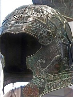 Ornate bronze helmet from south-central Crete (Greece) 7th century BCE.