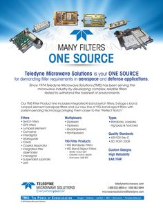 Teledyne Microwave Solutions Many Filters One Source Solutions Print Ads Filters