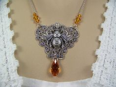 Honeybee Necklace Gold Topaz Crystal Filigree by CreatedinTheWoods