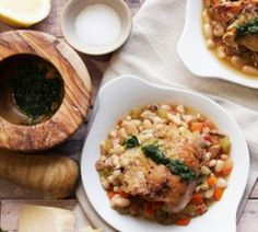 Try this easy to make Slow Cooker Chicken Cassoulet with Pesto that is loaded with flavor
