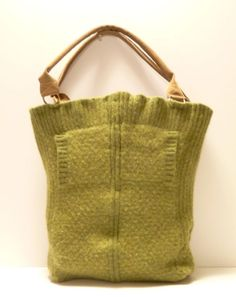 Sweater Bag Celery w/Cream Dots by JackandMaryHandbags on Etsy, $75.00