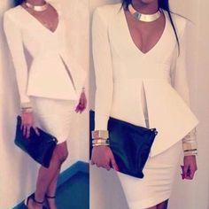 Stylish Plunging Neck Solid Color Slimming Long Sleeve Women's Dress, WHITE, L in Dresses 2014 | DressLily.com