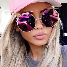 Gold Frame Hot Pink Purple Round Mirror Sunglasses