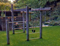 modern playground that doesn't mess up the aesthetics of your backyard Modern Playground, Kids Backyard Playground, Backyard Gym, Backyard Obstacle Course, Backyard For Kids, Backyard Projects, Kids Outdoor Play, Kids Play Area, Patio Chico