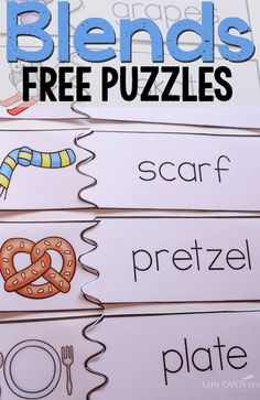 Free Printable Puzzles for Beginning Blends found on this great blog.