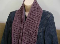 Crochet Cowl Pattern Chunky Textured Scarf by bubnutPatterns