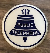 "Porcelain Look Public Telephone Booth 10/"" x 7/"" Retro Look Metal Sign"